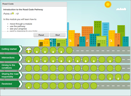 Road code pathway map. Free online learning to prepare for your driver licence